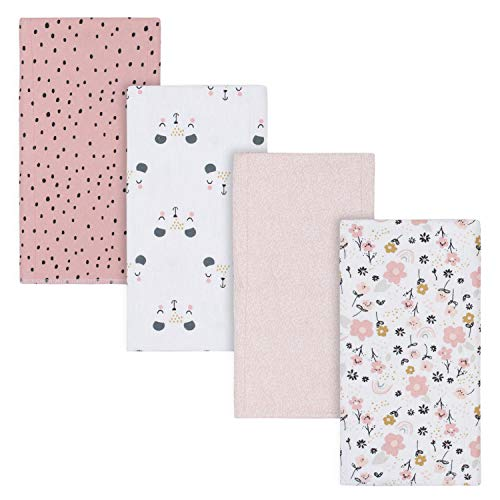 Gerber Baby Girls 4-Pack Flannel Burp Cloth, Bear Pink, One Size
