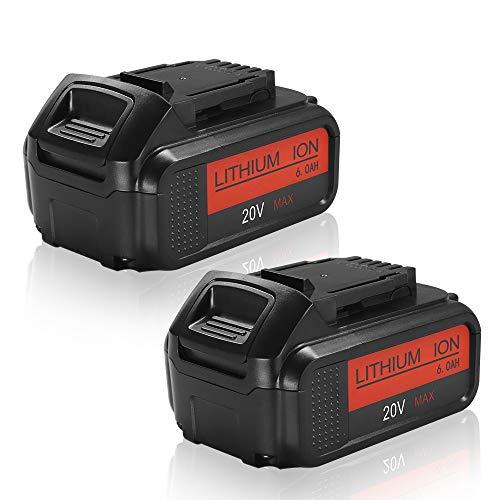 2Pack 6.0Ah Replacement Battery for Dewalt 20 Volt MAX Lithium Ion Premium XR Battery DCB205 DCB200 DCB206 DCB206-2 DCB204 DCB204BT-2 DCB203 DCB201