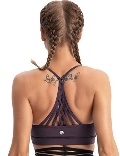 coastal rose Women's Strappy Sport Bra Racerback Padded Supportive Workout Yoga Bra Top US XS BlackBerry Cordial
