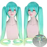 Anime Vocaloid Hatsune Miku Racing Cosplay Wig Gradient Green Long Straight Pigtails Synthetic Hair Halloween Costume Prop Wigs