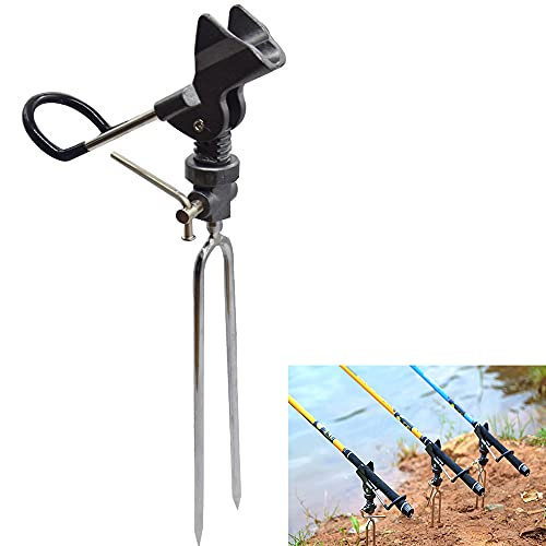 N\\A Stainless Steel Fishing Rod Holder Heavy Duty Detachable Fishing Support Rod Holder 360 Degree Adjustable Fish Pole Ground Support Stand Rod Racks for Bank Fishing (Grey)