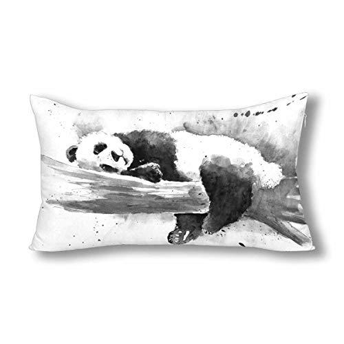 INTERESTPRINT, Federa Decorativa per Cuscino, Motivo Panda Felice e Divertente, 45,7 x 45,7 cm King-20x36 inch Tipo 3.