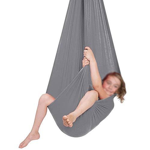 YADLCR Hamaca de Abrazo sensorial, Columpio de Terapia Interior para niños, Elástico Hamaca para niños Integración sensorial Yoga Camping al Aire Libre (Color : Gray, Size : 100x280cm)