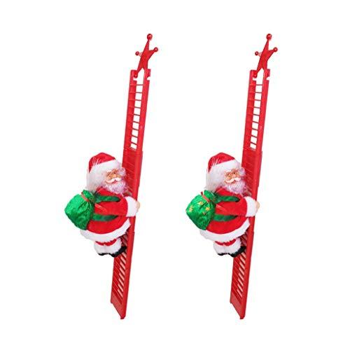 UKtrade 2020 más nuevo LED Navidad decoración Santa Claus escalada eléctrica colgante juguetes de Navidad ideal para el niño (2 unids)