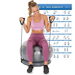 Let's Get Aktiv Exercise Ball with Resistance Bands – 1 Yoga Ball (65cm) + Stability Base, A1 Wall Poster, 2 Exercise Bands Sets (45 & 70cm), Ball Pump, Spare Plugs & Plug Remover – eBook Included!