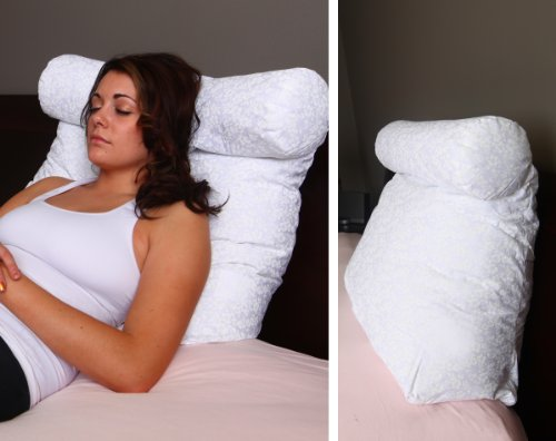 Relax In Bed Pillow Plain White - Best Lounger Support Pillows with Neck Roll for Reading or Bed Rest - lower back pillow - back pillow - back support - lower back pain chair