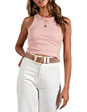 Dames Basic Solid O Neck Rib-Knit Crop Vest Mouwloos Racerback Cropped Sport Tank Tops