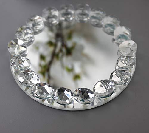 HomeZone - Plato de cristal con espejo para velas, 10 cm