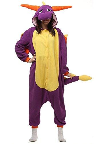 ABYED Jumpsuit Tier Karton Fasching Halloween Kostüm Sleepsuit Cosplay Fleece-Overall Pyjama Schlafanzug Erwachsene Unisex Lounge, Lila Drache, Erwachsene Größe XXL -for Höhe 182-190CM