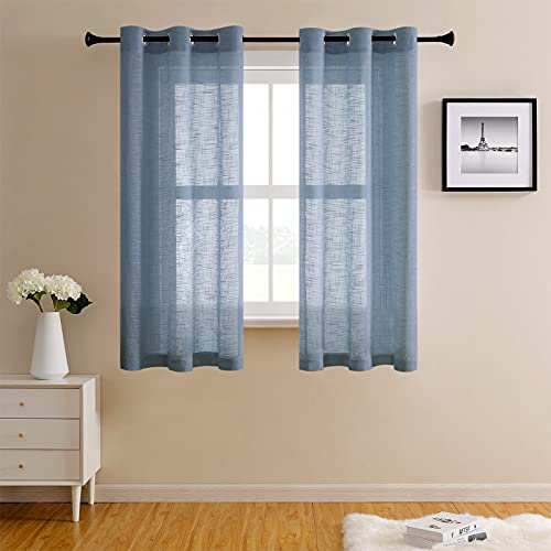 CUTEWIND Bedroom Semi Sheer Curtains 54 Inches Long Grommet Top Flax Linen Blend Textured Curtain Panels for Living Room Blue Drapes (1 Pair, Blue, W34×L54 Inches)