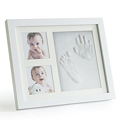 Up & Raise Premium Clay Baby Footprint & Handprint Picture Frame Kit - Safe and Non-Toxic Clay | Elegant Glass/Solid Wood | Perfect New Baby Boy/Girl Baby Shower Gift