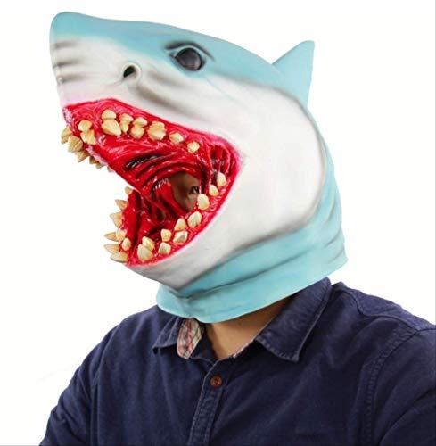 tytlmask haai bovenhoofd volledig gezicht masker, griezelige latex rubber masker voor halloween essentiële kostuum partij theater cosplay prop nieuwigheid