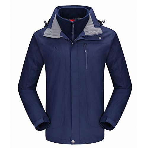 CAMEL CROWN メンズ スキージャケット 3イン1 防水ウィンタージャケット スノージャケット 防風フード付き 内側は暖かいフリースコート US サイズ: Small カラー: ブルー