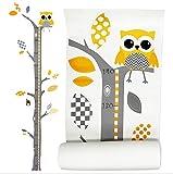 Brunoko vinilos infantil pared + medidor de niños para pared 2 en 1 - pegatinas pared decorativas infantil de árbol y...