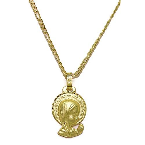 Never Say Never Medalla para comunión de Oro Amarillo de 18ktes con la Virgen Niña 45cm