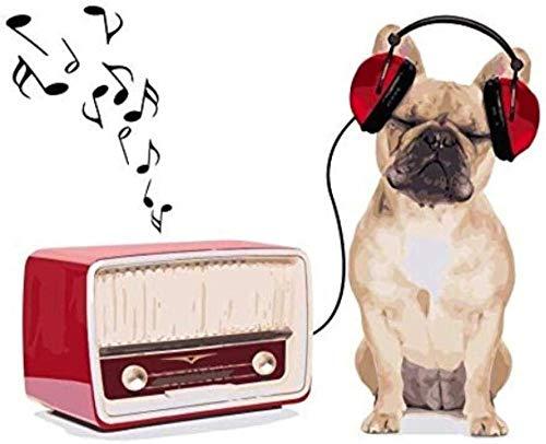 Pittura digitale ad olio fai da te cane che ascolta la musica pittura kit digitale adulto bambini anziani scuola superiore principiante acrilico set pittura ad olio digitale fai da-With Frame-40X50CM