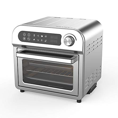 Convection Toaster Oven Air fryer Combo 8-in-1 Countertop Conventional Electric Touchscreen Digital Stainless Steel Compact Baking Roasters With Rotisserie Dehydrator Recipe Included Small Appliances with LED Display for Kitchen Home 11 QT Small Capacity
