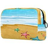 Neceser Maquillaje Portátil Playa Estrella de mar Bolsa de Maquillaje Bolsa de Aseo Neceser de Viaje Toiletry Bag para Mujeres niñas 18.5x7.5x13cm