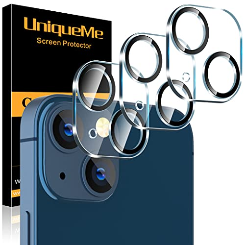 [3 Pack] UniqueMe Compatible with iPhone 13 6.1 inch/iPhone 13 Mini 5.4 inch Camera Lens Protector Tempered Glass Case-Friendly...