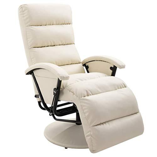 UnfadeMemory TV-Sessel Kunstleder Relaxsessel Liegesessel Entspannen Liegekomfort Verstellbar Rückenlehne 65 x 101 x 100 cm (Creme)