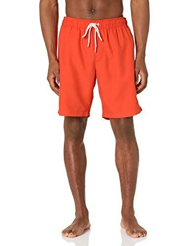 Amazon Essentials Men's Quick-Dry 9' Swim Trunk, Orange, Large