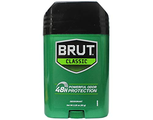 Brut Deodorant Oval Solid 2.25 Oz. - 24 Hour Protection with Trimax (3 Sticks) Original Fragrance 3 Pack