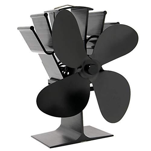 N\C Ventilador de Estufa de 4 Aspas Accionado por Calor para Leña/Quemador de Leña/Chimenea, para Aumentar 80% El Aire Caliente, Respetuoso con El Med - Negro, Individual