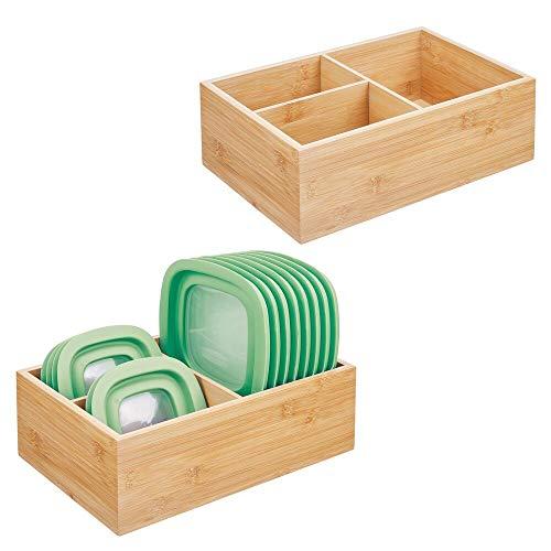 mDesign Keukenopbergdoos – Bamboe opbergbak voor voedselcontainers, deksels en accessoires – Keukenorganizer voor kasten en werkbladen Pack of 2 NATUURLIJK