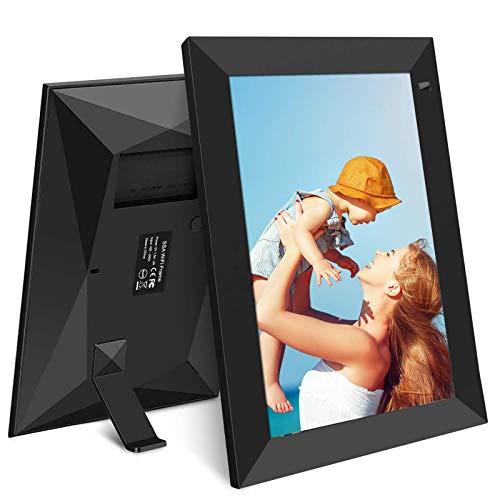 Digitaler Bilderrahmen WiFi 10-Zoll-YENOCK Foto und Video sofort über App/Facebook/Twitter/E-Mail teilen Überall Touchscreen-Display, automatische Drehung, Bewegungssensor, 16 GB Speicher