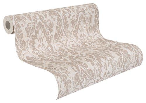 rasch Vlies-Tapete, braune Ornamente auf beigem Grund, Shabby Chic, klassisches Muster, Souvenir 516210, Elfenbein