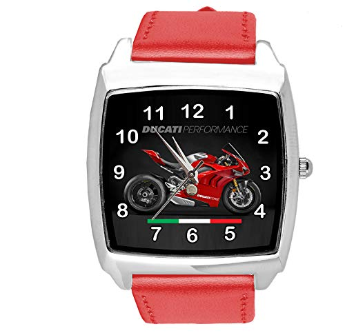 Reloj cuadrado de cuero rojo para aficionados a la motocicleta