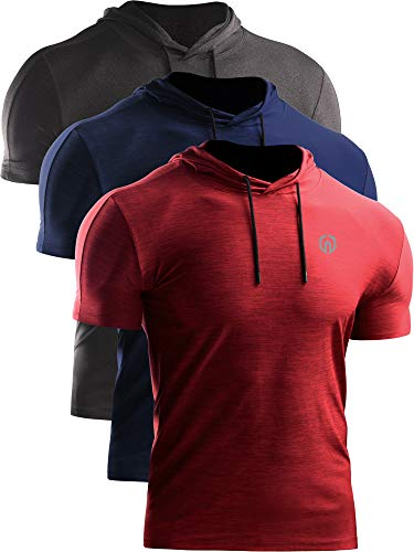Neleus Men's 3 Pack Dry Fit Running Shirt Workout Athletic Shirt with Hoods,Grey Black,Navy Blue,Red,US XL,EU 2XL
