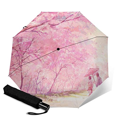 Peach Tree,Sun & Rain Travel Umbrella - Lightweight Compact Umbrella with UV Protection for Men and Women Multiple Colors