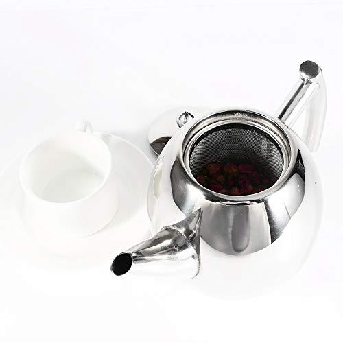 Tetera de acero inoxidable, hervidor de café de hoja de té suelta hervidor de agua con filtro de infusor extraíble para hogar, cocina, restaurante, oficina(1000ml)
