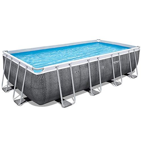 Bestway Power Steel Frame-Pool, 488 x 244 x 122 cm, rechteckig, Rattan grau, 11.532 Liter, ohne Pumpe und Zubehör, Ersatzteil, Ersatzpool