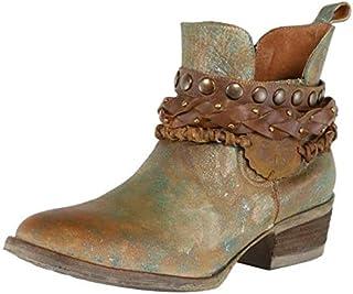 """Details about  /NIB Corkys Womens Khaki 1/"""" Heel Western Booties w Buckles /& Side Zipper $140"""