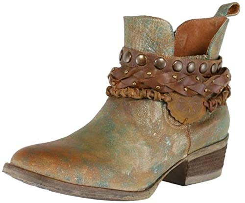 Corral Womens Green Harnes & Studs Round Toe Ankle Boot, Size: 8, Width: M
