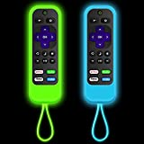 [2 Pack] silicone Roku remotes cover case Compatible with  TCL Roku   Hisense Roku remote   Roku Streaming Stick+   Roku Streaming Stick   Insignia Roku TV Model Year 2016-2019 (Luminous Green + Blue)