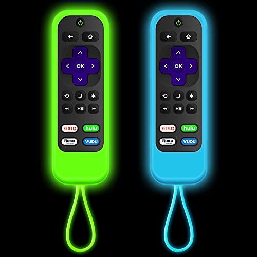 [2 Pack] Roku Remote Case,Silicone Roku remotes Cover Compatible with | Roku Express | Roku Streaming Stick+ | Roku Express 4K+ 2021 | Roku Ultra | (Luminous Green + Luminous Blue)
