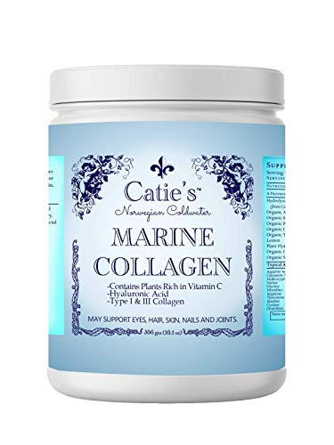 Catie's Marine Collagen- Premium Wild Caught Collagen (Type 1 & 3) from Cold Water Nordic Cod w/Plant Based Vitamin C, Hyaluronic Acid + Herbs! Non GMO. 30 Day Supply.