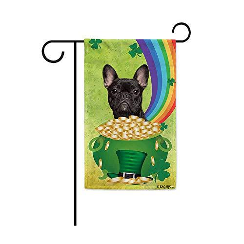 BAGEYOU Happy St.Patrick's Day Shamrock Garden Flag with My Love Dog French Bulldog Rainbow Gold Green Hat Decor Yard Banner 12.5X18 Inch Print Both Sides