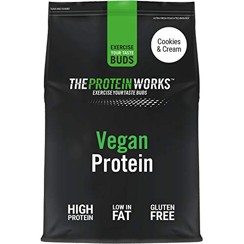 Vegan Protein Powder | 100% Plant-Based & Natural | Gluten-Free | Zero Cruelty | Low Fat Shake | THE PROTEIN WORKS | Cookies 'n' Cream | 1 Kg