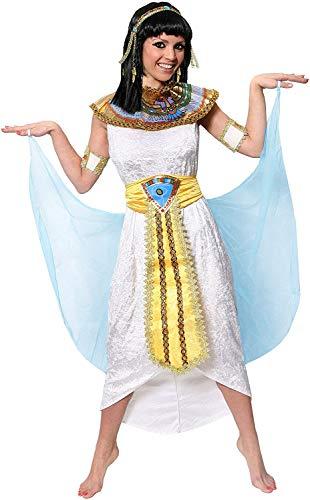 Disfraz de reina de los nices Cleopatra, disfraz de princesa egipcia antigua de terciopelo blanco + cuello de color + cinturn dorado amarillo + cabeza + brazos. Tamao: pequeo