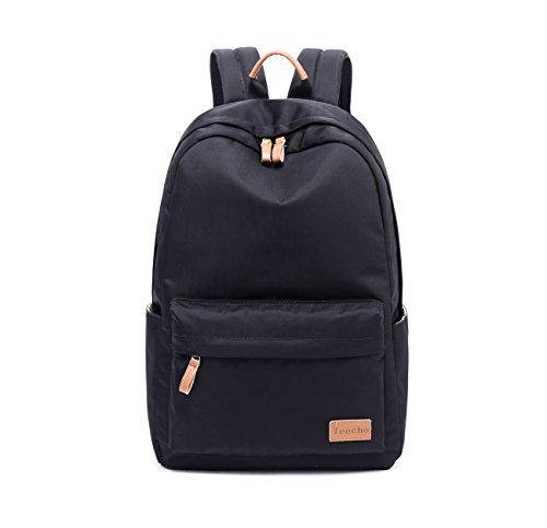 Teecho Waterproof Classical School Backpack for Teenagers Casual Daypack for Women Black