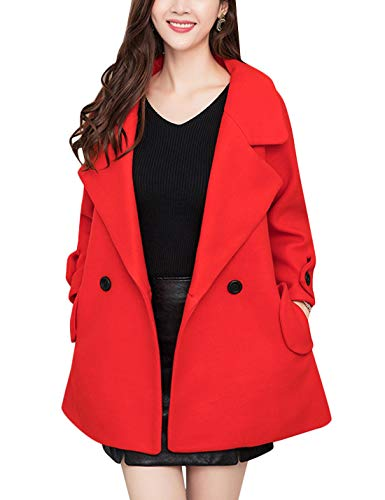 Tanming Womens Autumn Casual Loose Lapel Wool Blend Double Breasted Coat Trench Coat (Blackish Red, XX-Large)