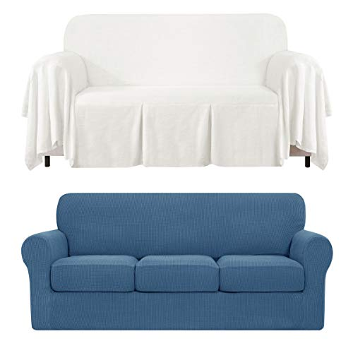 CHUN YI 4-Piece Separate Cushion Sofa Slipcover Bundles 1-Piece Medium Linen Sofa Throw Cover with Ruffle Design(Denim Blue, Ivory White)
