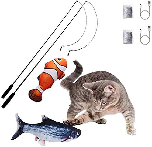katzenspielzeug Fisch Katzenspielzeug Elektrisch Flopping Fish, otakujk Katzenminze Wiederaufladbar USB Kabel, Elektrische Fisch für Katze Beißen ( 2 Elektrische Fische, 2 Spielangel)