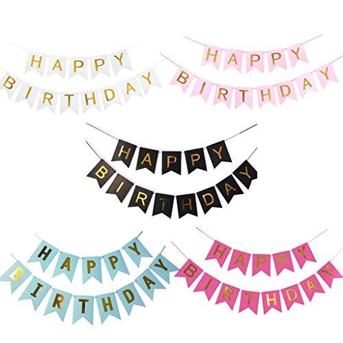 Oumezon 5 unidades de guirnaldas de cumpleaños para niñas y mujeres con texto 'Happy Birthday'