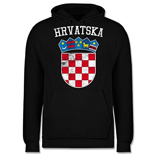 Shirtracer Fußball-Europameisterschaft 2020 - Kroatien Wappen WM - M - Schwarz - JH001 - Herren Hoodie und Kapuzenpullover für Männer
