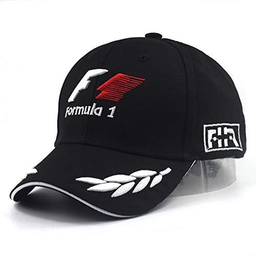 JKYJYJ Männer Formel Baseball Caps Schwarz 3D Stickerei Hüte Motorrad Racing Outdoor Einstellbar Sport Sonnenhut